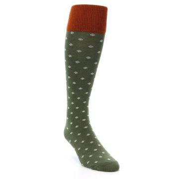 Image of Green Polka Dot Men's Over-the-Calf Dress Socks (side-1-front-02)