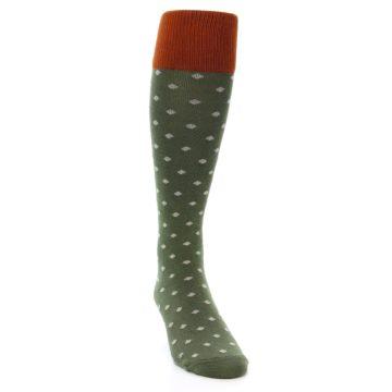 Image of Green Polka Dot Men's Over-the-Calf Dress Socks (side-1-front-03)