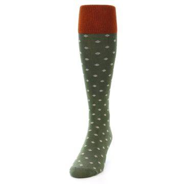 Image of Green Polka Dot Men's Over-the-Calf Dress Socks (side-2-front-06)