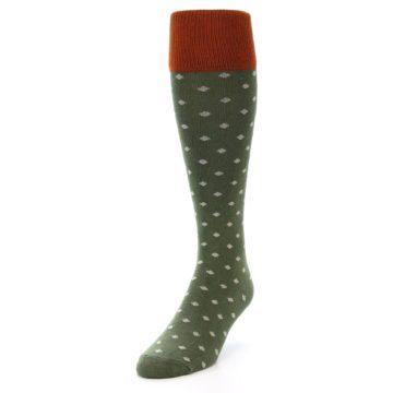 Image of Green Polka Dot Men's Over-the-Calf Dress Socks (side-2-front-07)
