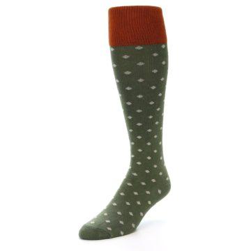 Image of Green Polka Dot Men's Over-the-Calf Dress Socks (side-2-front-08)