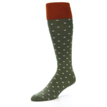 Image of Green Polka Dot Men's Over-the-Calf Dress Socks (side-2-09)
