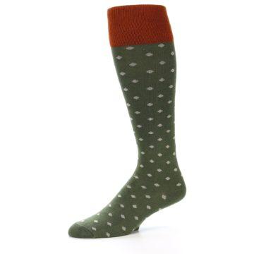 Image of Green Polka Dot Men's Over-the-Calf Dress Socks (side-2-10)