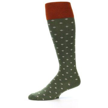 Image of Green Polka Dot Men's Over-the-Calf Dress Socks (side-2-11)
