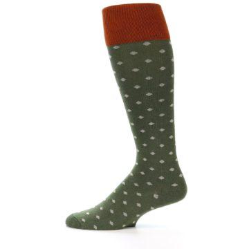 Image of Green Polka Dot Men's Over-the-Calf Dress Socks (side-2-12)