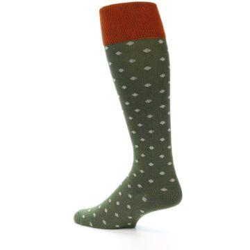 Image of Green Polka Dot Men's Over-the-Calf Dress Socks (side-2-back-14)
