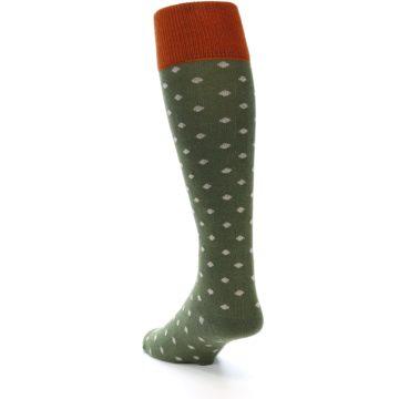 Image of Green Polka Dot Men's Over-the-Calf Dress Socks (side-2-back-16)