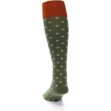 Image of Green Polka Dot Men's Over-the-Calf Dress Socks (back-17)