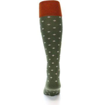 Image of Green Polka Dot Men's Over-the-Calf Dress Socks (back-18)