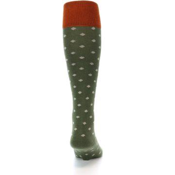 Image of Green Polka Dot Men's Over-the-Calf Dress Socks (back-19)