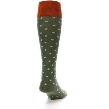 Image of Green Polka Dot Men's Over-the-Calf Dress Socks (side-1-back-20)