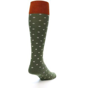 Image of Green Polka Dot Men's Over-the-Calf Dress Socks (side-1-back-21)