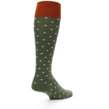 Image of Green Polka Dot Men's Over-the-Calf Dress Socks (side-1-back-22)