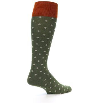 Image of Green Polka Dot Men's Over-the-Calf Dress Socks (side-1-23)