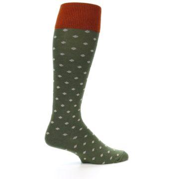 Image of Green Polka Dot Men's Over-the-Calf Dress Socks (side-1-24)