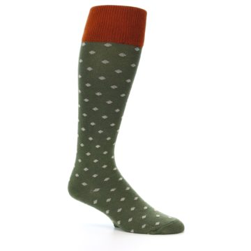 Image of Green Polka Dot Men's Over-the-Calf Dress Socks (side-1-26)
