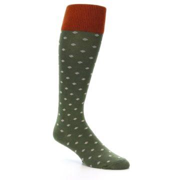 Image of Green Polka Dot Men's Over-the-Calf Dress Socks (side-1-27)
