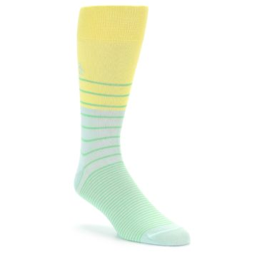 Image of Yellow Mint Green Stripe Men's Dress Socks (side-1-front-01)