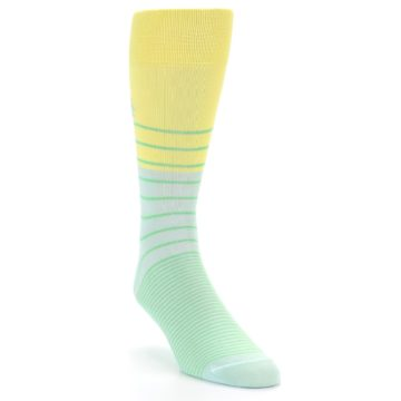 Image of Yellow Mint Green Stripe Men's Dress Socks (side-1-front-02)