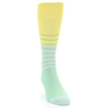 Image of Yellow Mint Green Stripe Men's Dress Socks (side-1-front-03)