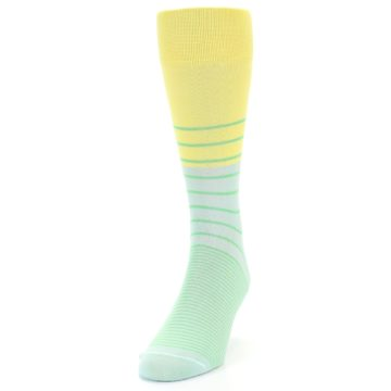 Image of Yellow Mint Green Stripe Men's Dress Socks (side-2-front-06)