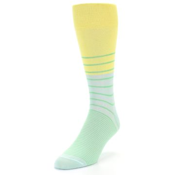 Image of Yellow Mint Green Stripe Men's Dress Socks (side-2-front-07)