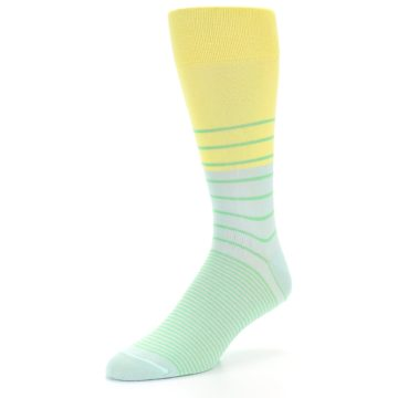 Image of Yellow Mint Green Stripe Men's Dress Socks (side-2-front-08)