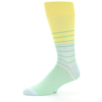Image of Yellow Mint Green Stripe Men's Dress Socks (side-2-10)