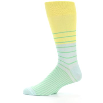 Image of Yellow Mint Green Stripe Men's Dress Socks (side-2-11)