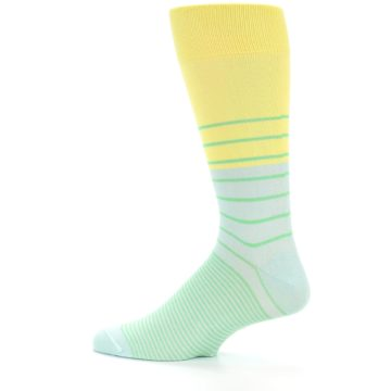 Image of Yellow Mint Green Stripe Men's Dress Socks (side-2-12)