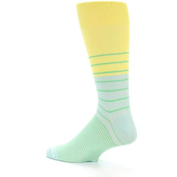 Image of Yellow Mint Green Stripe Men's Dress Socks (side-2-13)