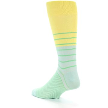 Image of Yellow Mint Green Stripe Men's Dress Socks (side-2-back-14)