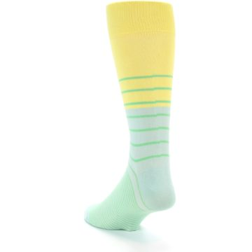 Image of Yellow Mint Green Stripe Men's Dress Socks (side-2-back-15)