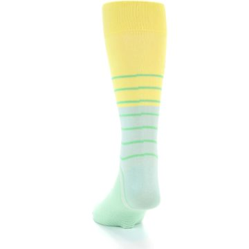Image of Yellow Mint Green Stripe Men's Dress Socks (side-2-back-16)