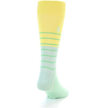 Image of Yellow Mint Green Stripe Men's Dress Socks (back-19)