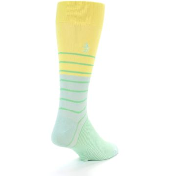 Image of Yellow Mint Green Stripe Men's Dress Socks (side-1-back-20)