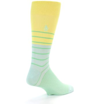 Image of Yellow Mint Green Stripe Men's Dress Socks (side-1-back-21)