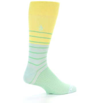 Image of Yellow Mint Green Stripe Men's Dress Socks (side-1-back-22)