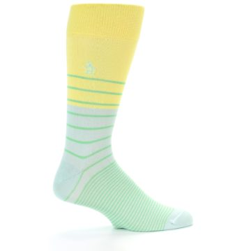 Image of Yellow Mint Green Stripe Men's Dress Socks (side-1-23)