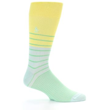 Image of Yellow Mint Green Stripe Men's Dress Socks (side-1-24)
