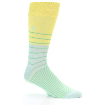 Image of Yellow Mint Green Stripe Men's Dress Socks (side-1-25)