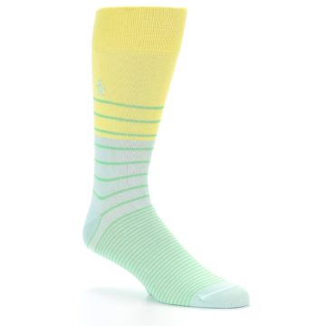 Image of Yellow Mint Green Stripe Men's Dress Socks (side-1-26)