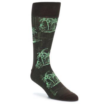 Image of Brown Green Tropical Men's Dress Socks (side-1-front-01)