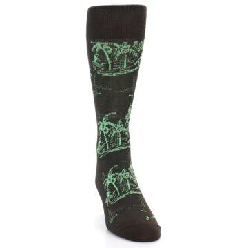 Image of Brown Green Tropical Men's Dress Socks (side-1-front-03)