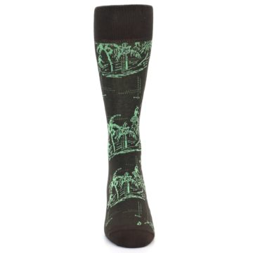 Image of Brown Green Tropical Men's Dress Socks (front-04)