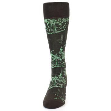 Image of Brown Green Tropical Men's Dress Socks (front-05)