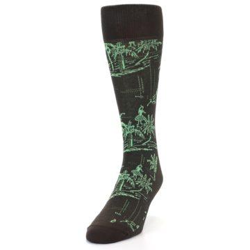 Image of Brown Green Tropical Men's Dress Socks (side-2-front-06)