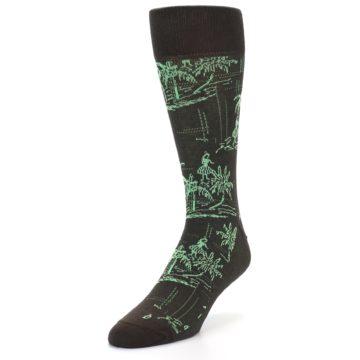 Image of Brown Green Tropical Men's Dress Socks (side-2-front-07)