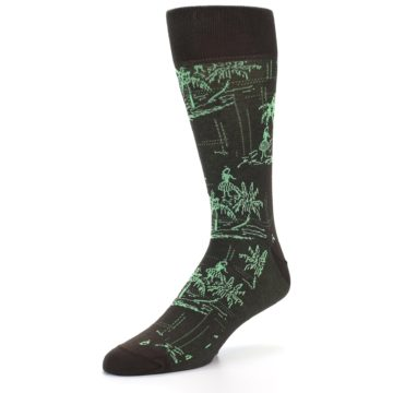 Image of Brown Green Tropical Men's Dress Socks (side-2-front-08)