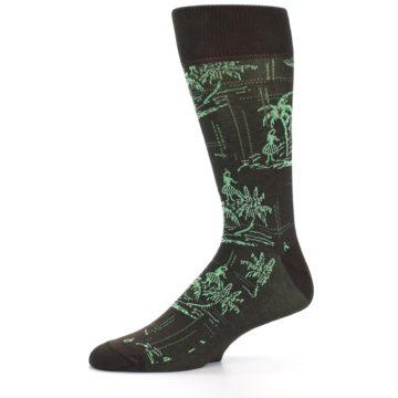 Image of Brown Green Tropical Men's Dress Socks (side-2-10)